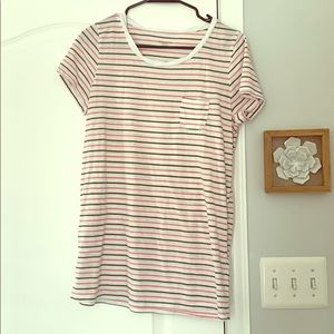 Striped Maternity T-Shirt with Pocket